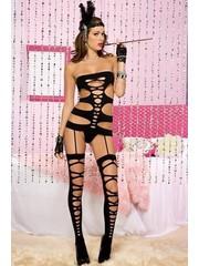 Music legs Sexy Catsuit met Horizontale Banden
