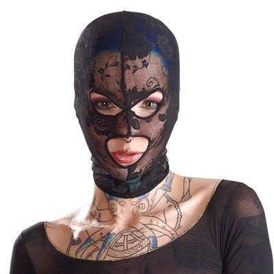 Elegante Mesh Bondage Hoofd Masker met Borduursels