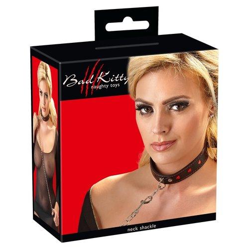 Bad Kitty Leren Collar Halsband met O-ring en Aanlijnriem
