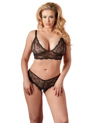 Cottelli Collection Plus Plus Size Kanten Beha Set met Open Kruis Licht Transparant