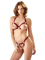 Cottelli Collection Lingerie Open Lingerie Set met BH en String Kant