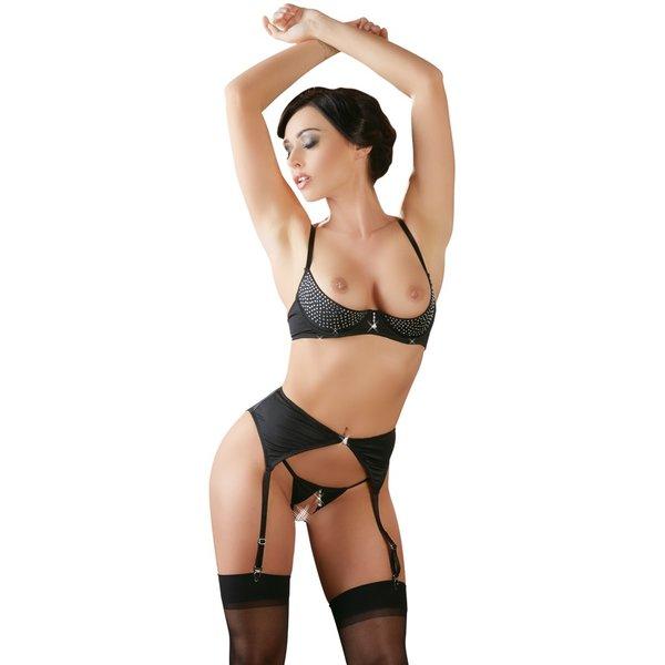 Abierta Fina  Luxe  Erotische Jarretel Lingerie Set met Open Cups