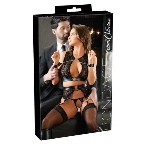 Cottelli Collection Bondage Bondage Jarretel Set met Hand Boeien