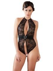 Abierta Fina Transparante Erotische Body met Halter Ontwerp