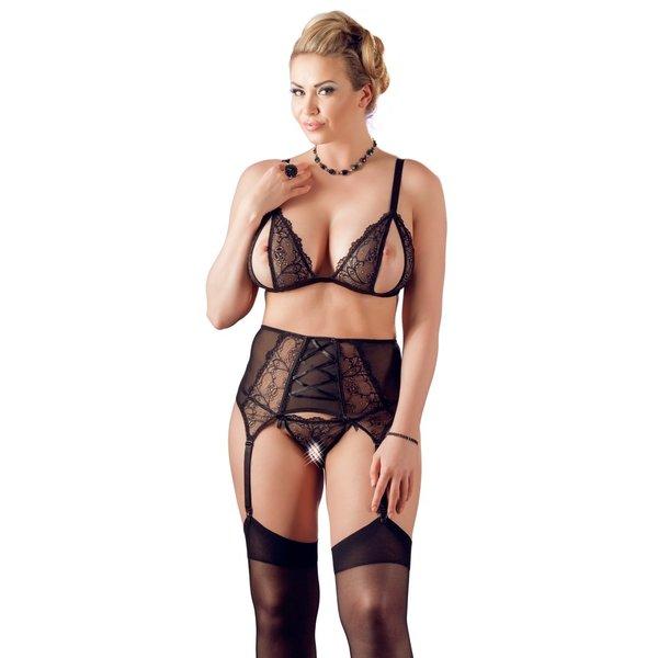 Cottelli Collection Plus Plus Size Erotische Jarretel Set met Open Delen