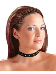 Cottelli Collection Accessoires Fluwelen Klittenband Choker met Diamantjes