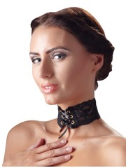 Cottelli Collection Accessoires Kanten Versierde Choker met Vetersluiting