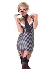 Cottelli Collection Costumes Ondeugende Secretaresse Mini Jurk met Stropdas