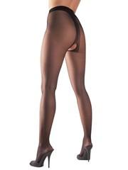 Cottelli Collection Stockings & Hosiery Satijnglans Erotische Panty met Open Kruis