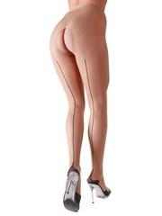 Cottelli Collection Stockings & Hosiery Nude Panty met Open Kruis en Zwart Stiksel