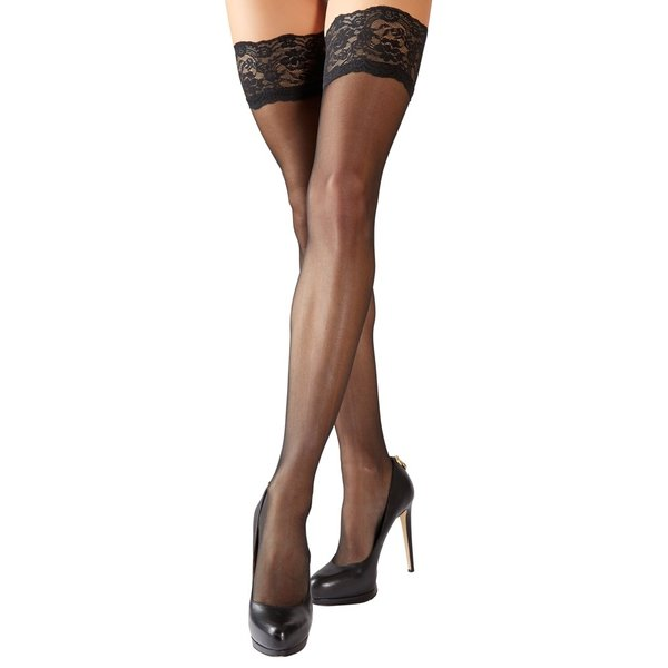Cottelli Collection Stockings & Hosiery Stay Up Kousen met Decoratieve Kanten Rand