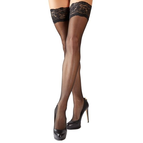 Cottelli Collection Stockings & Hosiery Plus Size Stay Up Kousen met Decoratieve Kanten Rand