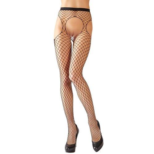 Cottelli Collection Stockings & Hosiery Panty met Grove Visnet Motief en Open Kruis