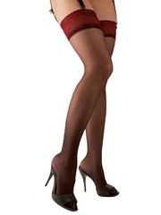 Cottelli Collection Stockings & Hosiery Erotische Kousen met Rode Rand Verfijnd