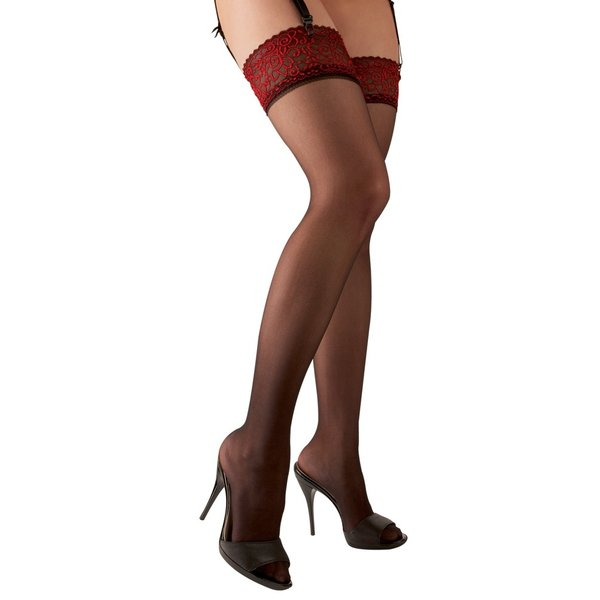 Cottelli Collection Stockings & Hosiery Erotische Kousen met Rode Rand Verfijnd