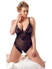 Cottelli Collection Plus Plus Size Sexy Body met Open Kruis en Kanten Afwerking