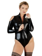 Cottelli Collection Plus Plus Size Wetlook Outfit met Lange Rits