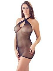 Mandy Mystery Lingerie Sexy Halternek Mini Jurk met Transparante Netstof