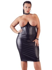 Cottelli Collection Plus Plus Size Wetlook Strapless Erotische Jurk Open Cups