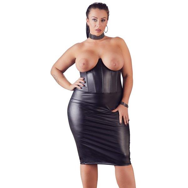Cottelli Collection Plus Plus Size Wetlook Strapless Erotische Jurk Open Cups