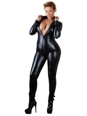 Cottelli Collection Plus Plus Size Sexy Catsuit met Lange Rits