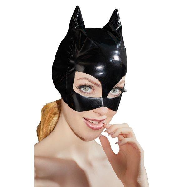 Black Level Fetish Masker van Vinyl Lak met Katten Oren