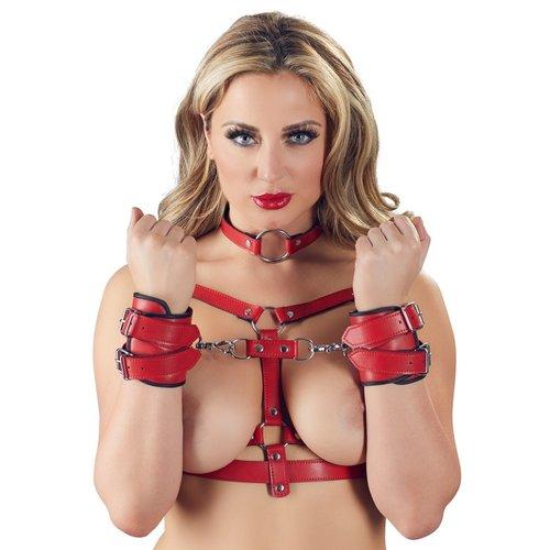 Bad Kitty Body Bondage Harnas Set me Polsboeien en Halsband