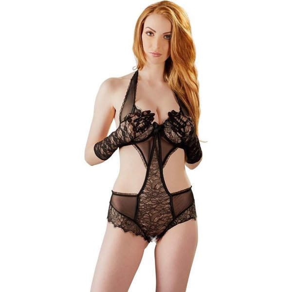 Cottelli Collection Lingerie Body met Kanten Motieven en Handschoenen  Medium