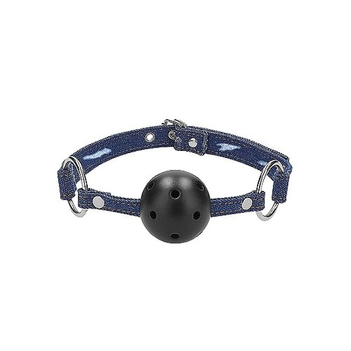 Ouch! Breathable Ball Gag met Spijkerstof Harnas