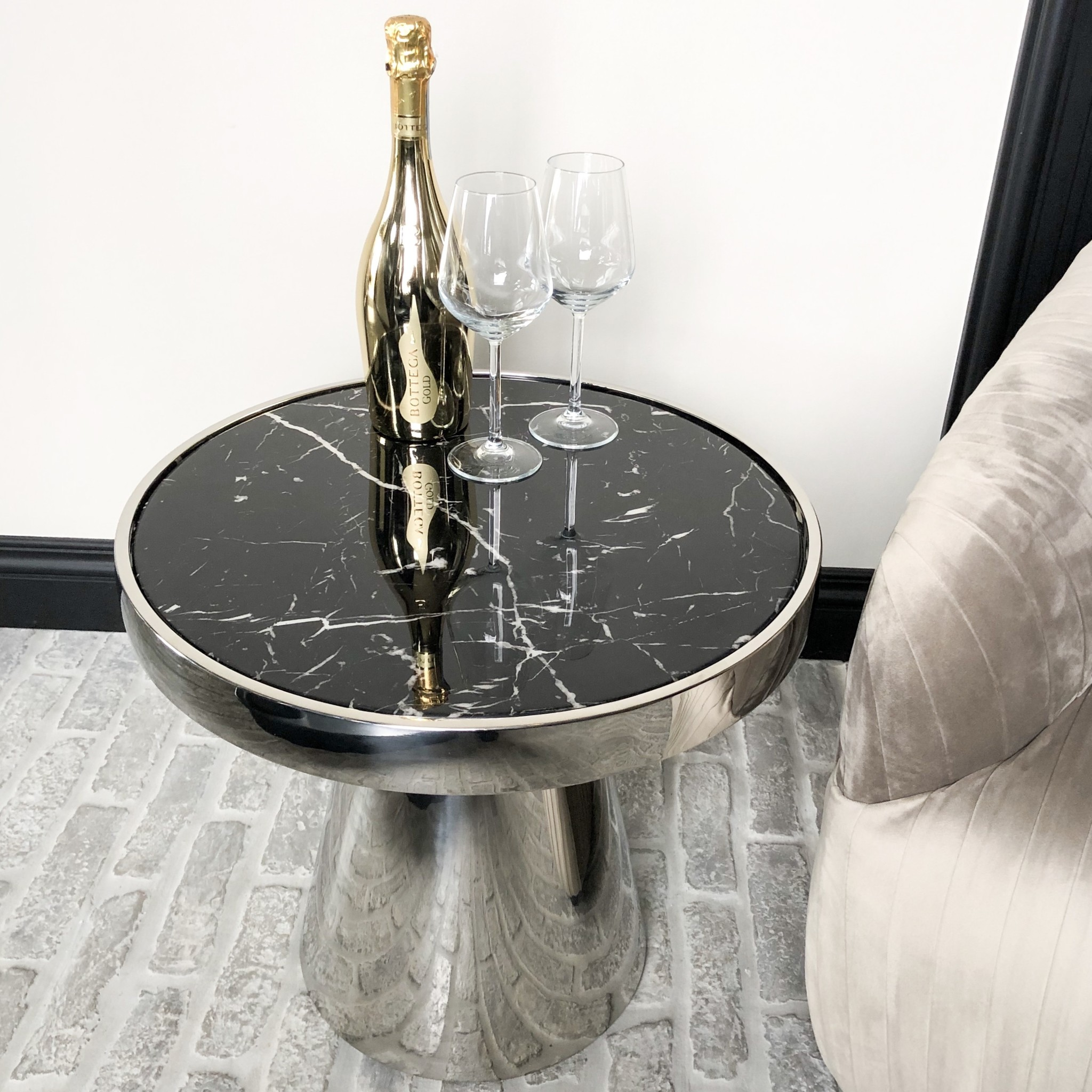 Design Side Table Lunda Black Marble-4