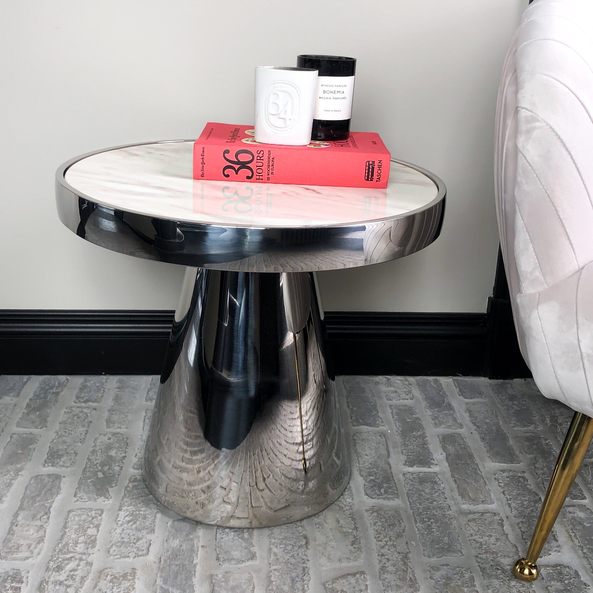 Design Side Table Lunda White Marble-8