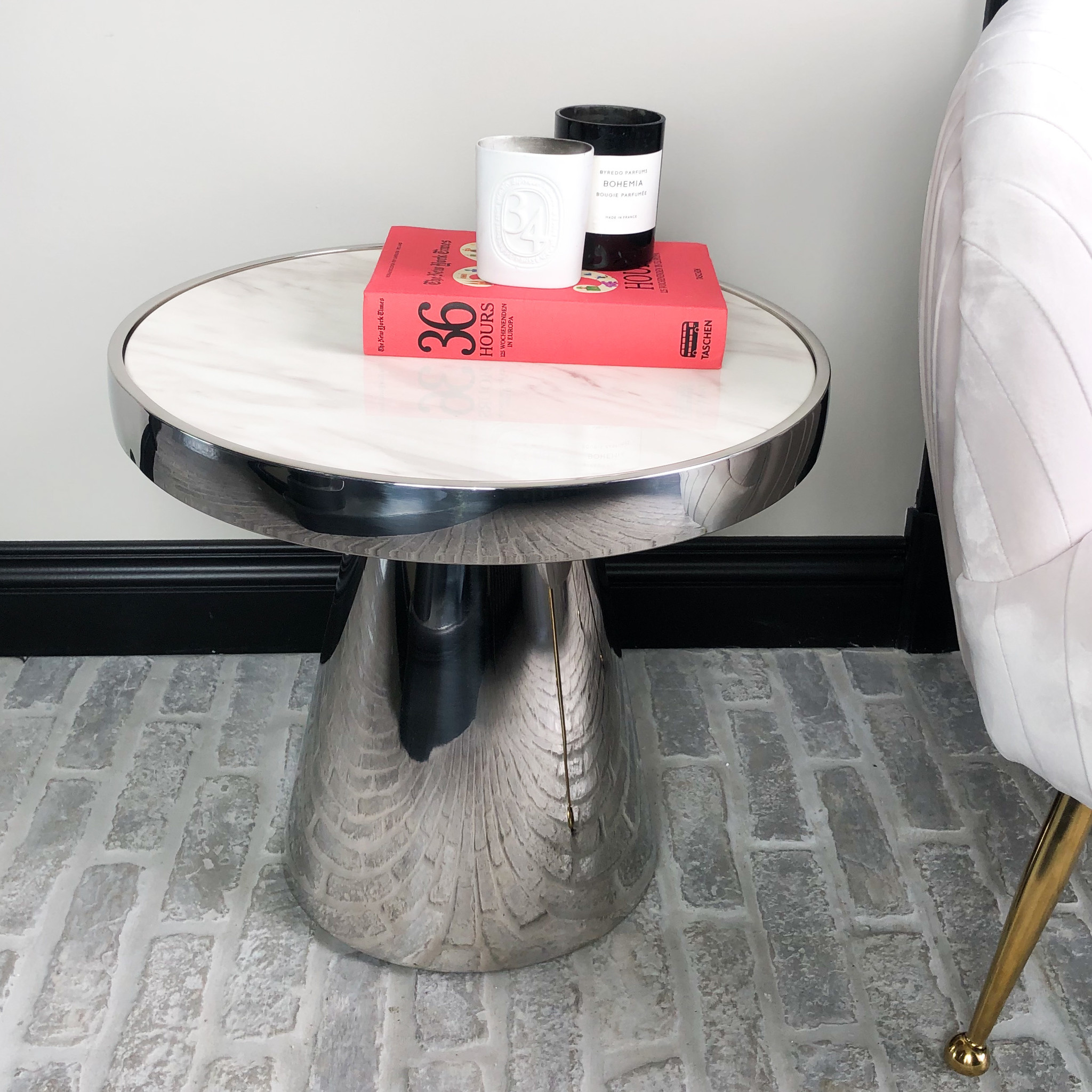 Design Side Table Lunda White Marble-6