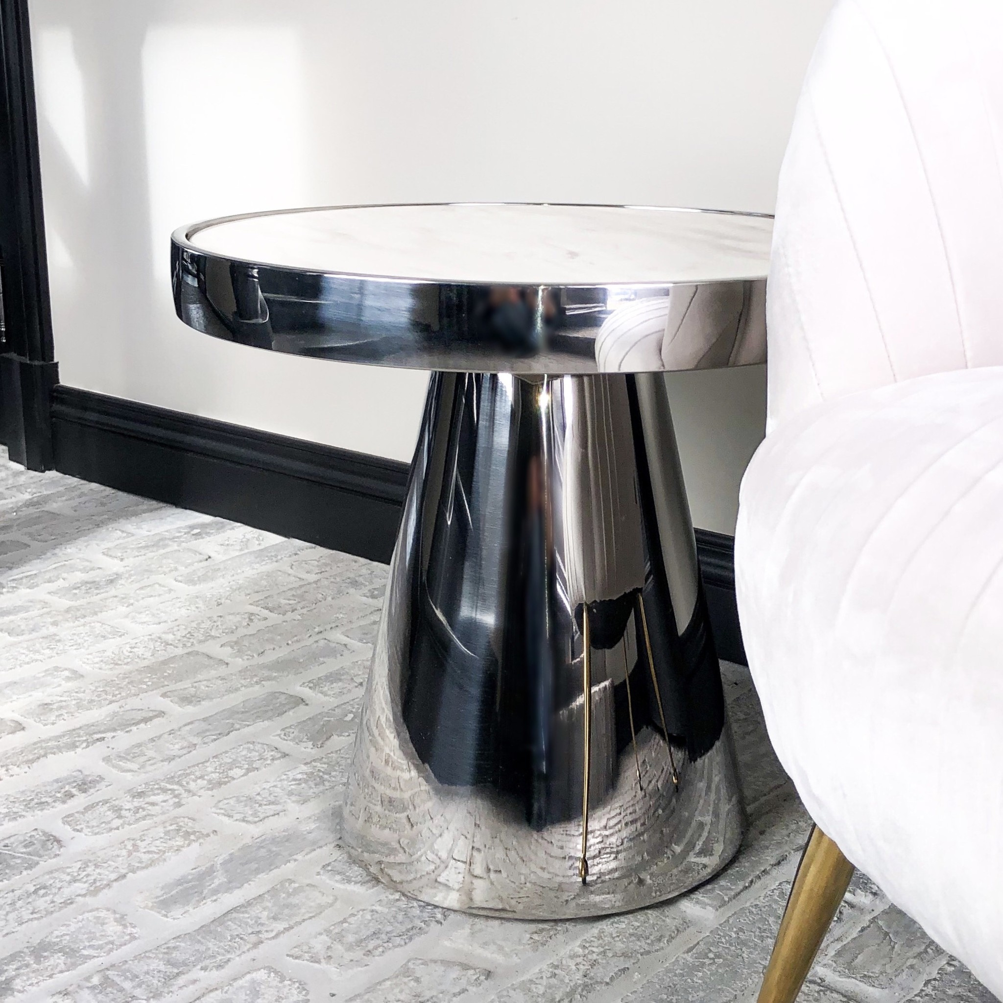 Design Side Table Lunda White Marble-2