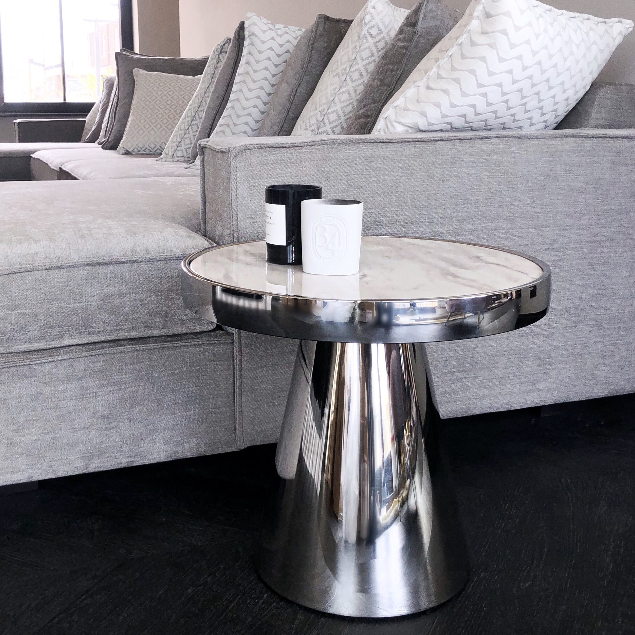 Design Side Table Lunda White Marble-3