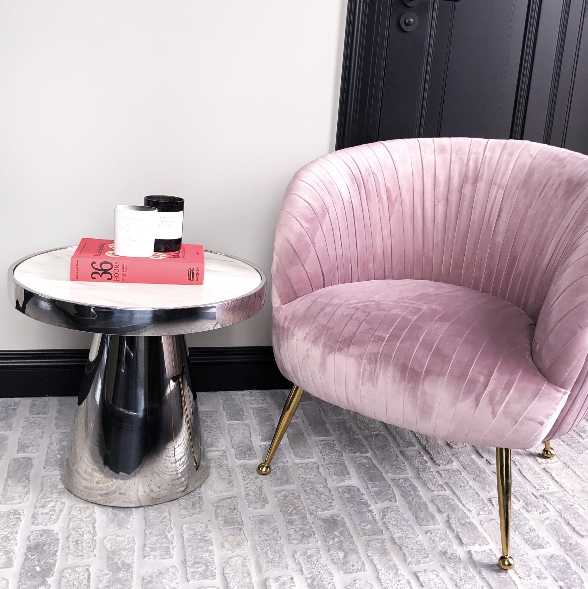 Luxurious Chair Perugia Pink Velvet-9