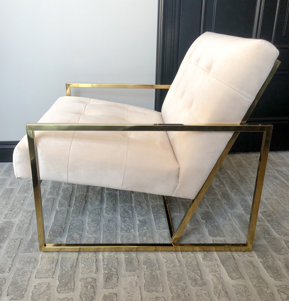 Luxurious Chair Mahora Ivory Velvet-3