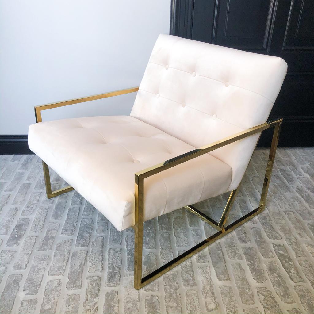 Luxurious Chair Mahora Ivory Velvet-2