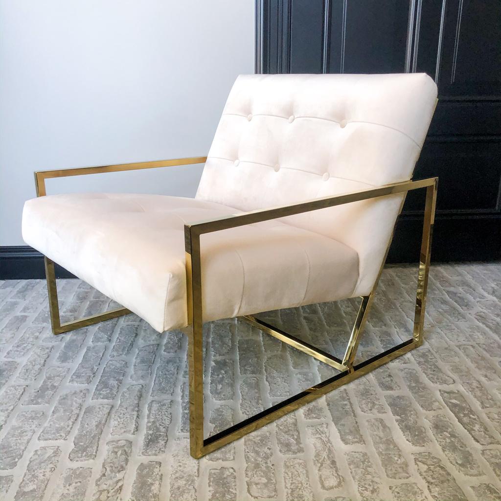 Luxurious Chair Mahora Ivory Velvet-7