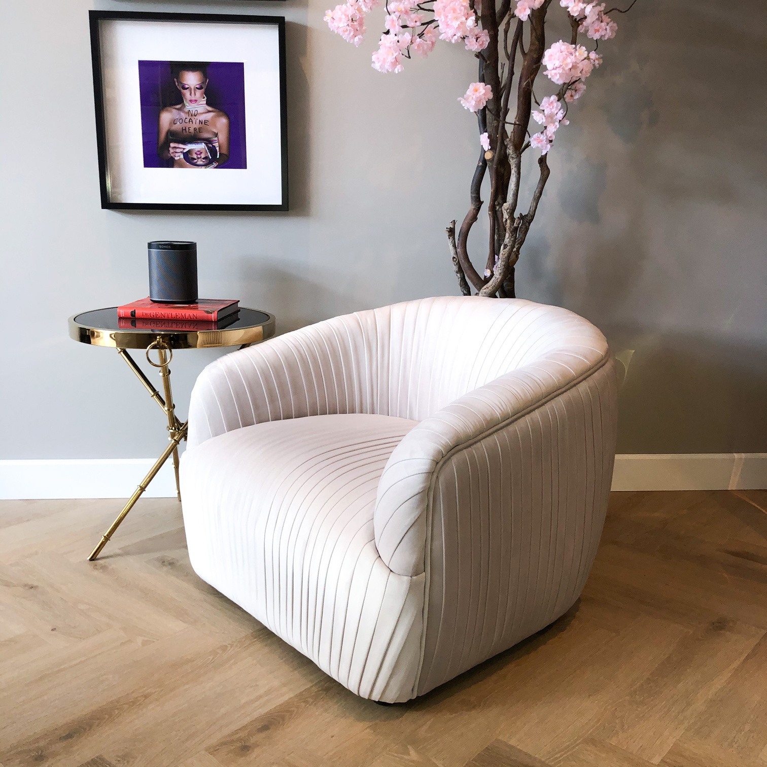 Luxurious Chair Connor Cloud White Velvet-1
