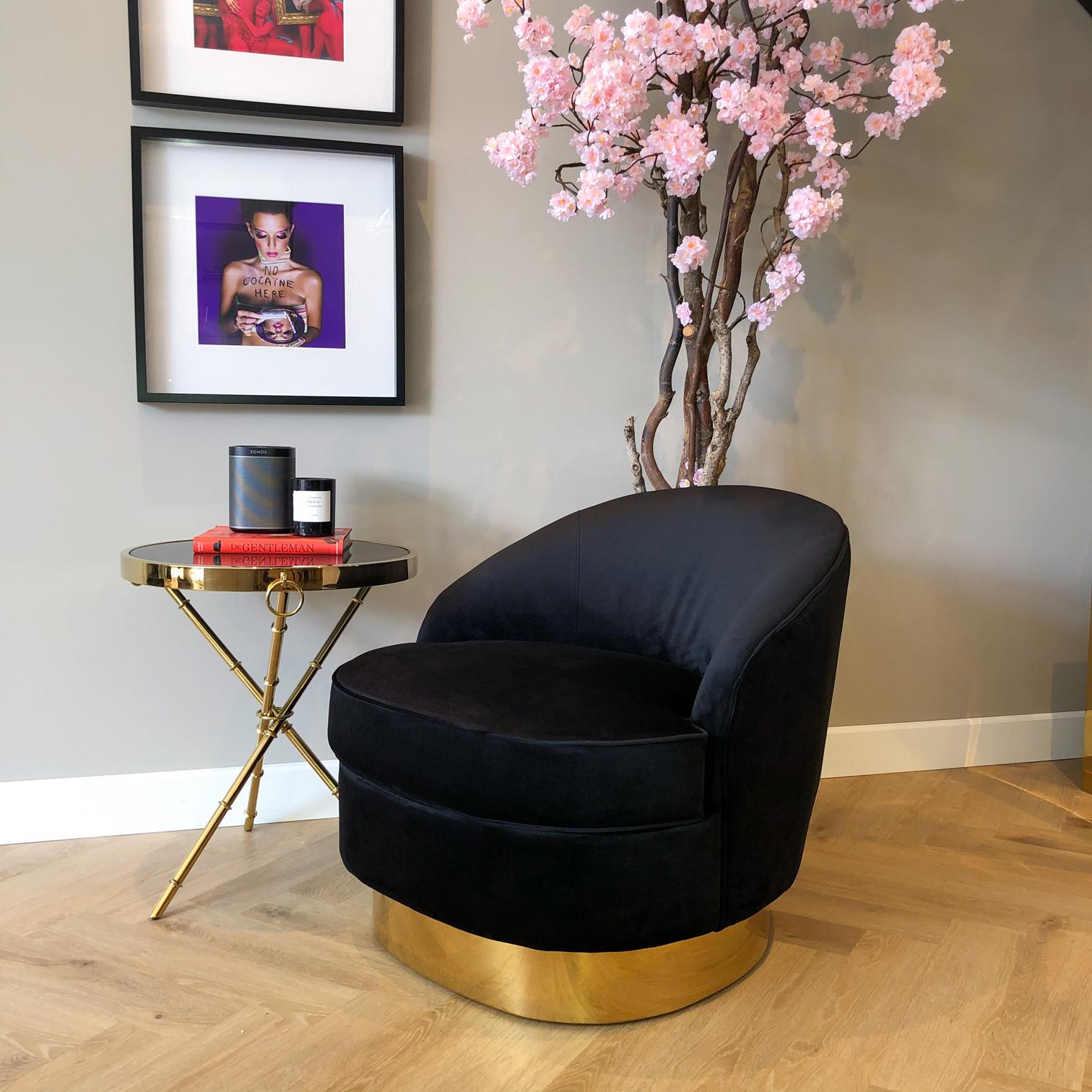 Luxurious Chair Giardion Black Velvet-4