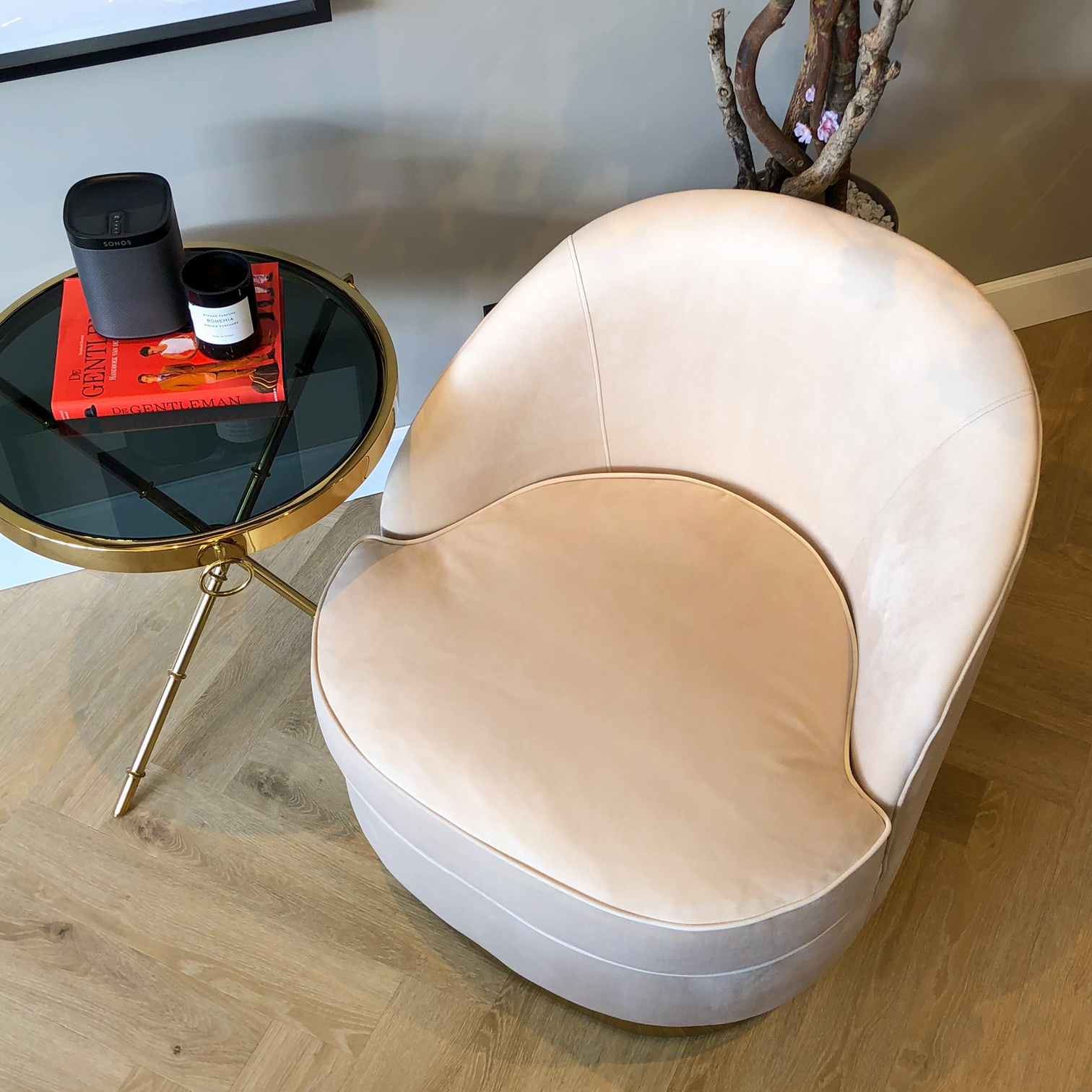 Luxurious Chair Giardion Ivory Velvet-3