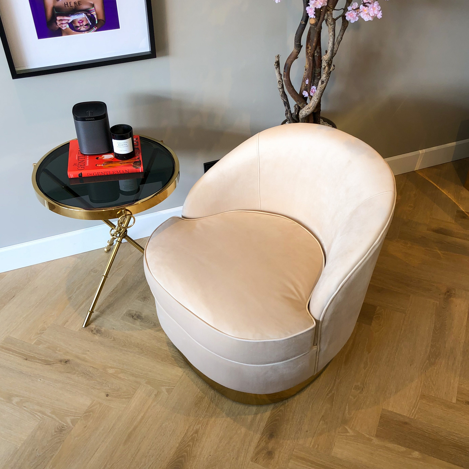 Luxurious Chair Giardion Ivory Velvet-5