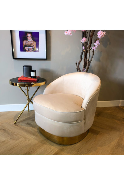 Luxurious Chair Giardion Ivory Velvet