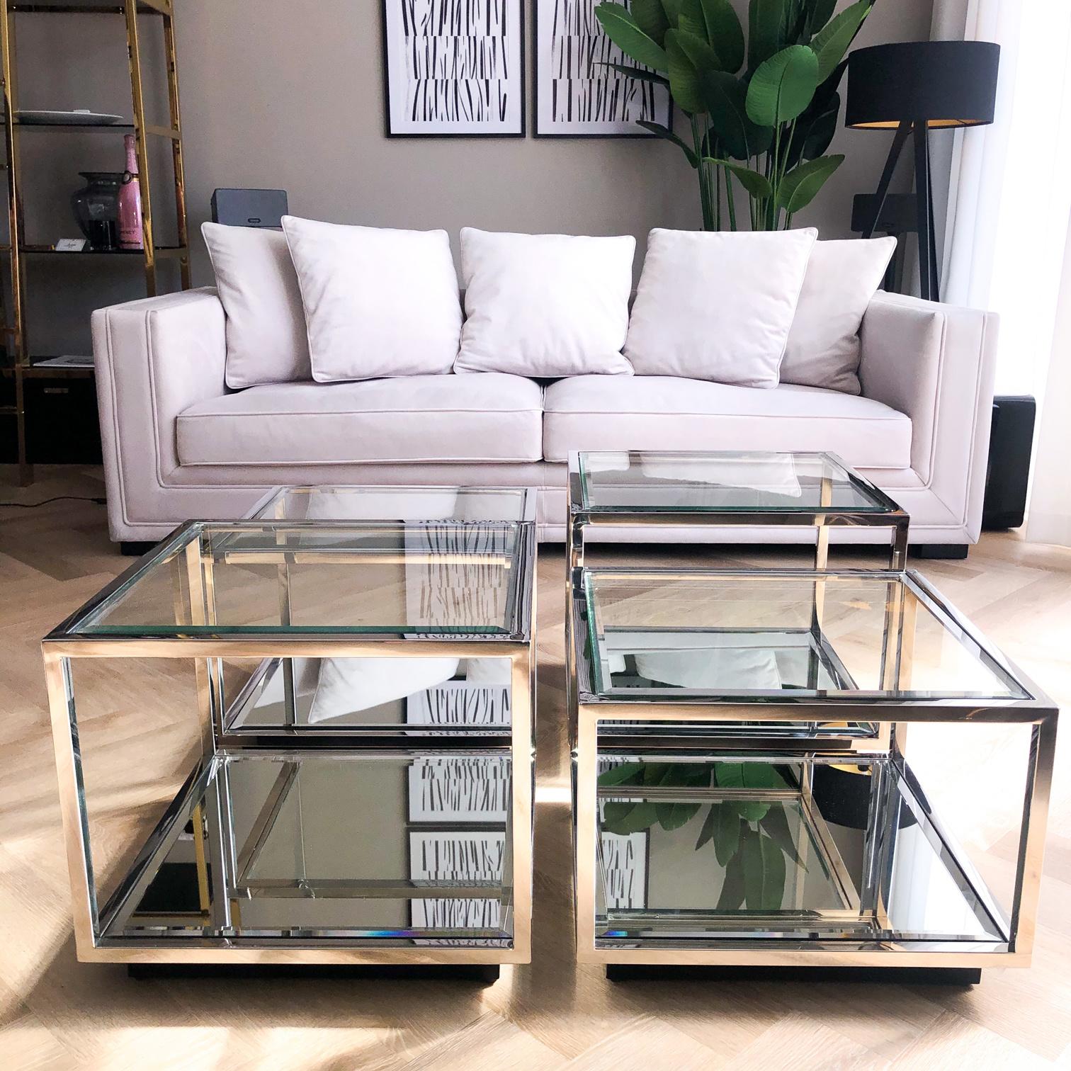 Design Salontafel Luigi Zilver (set van 4)-4