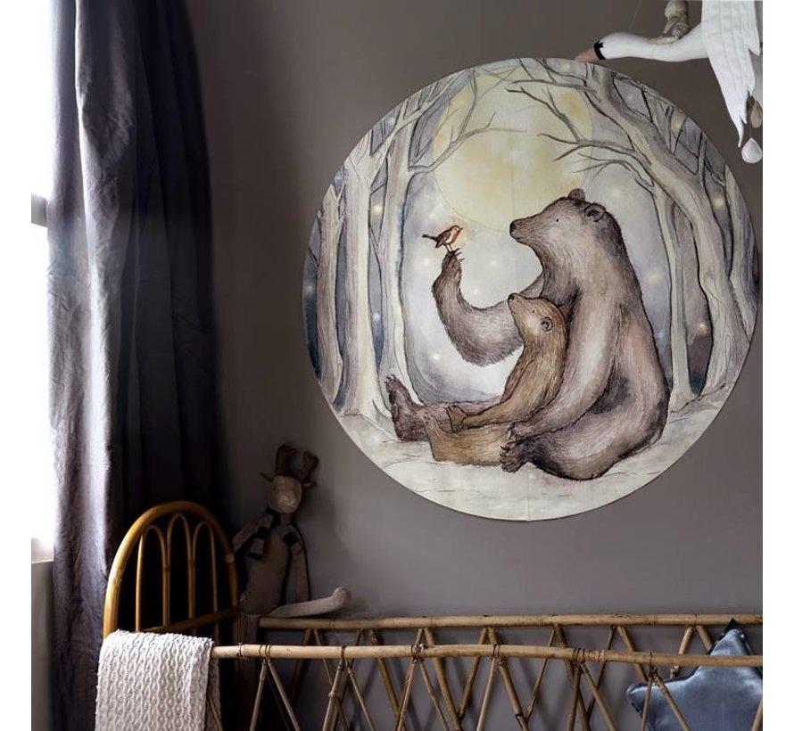 Beren en Roodborstje mini Behang