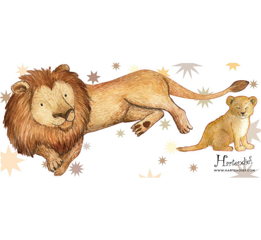 Grote en Kleine Leeuw Muursticker