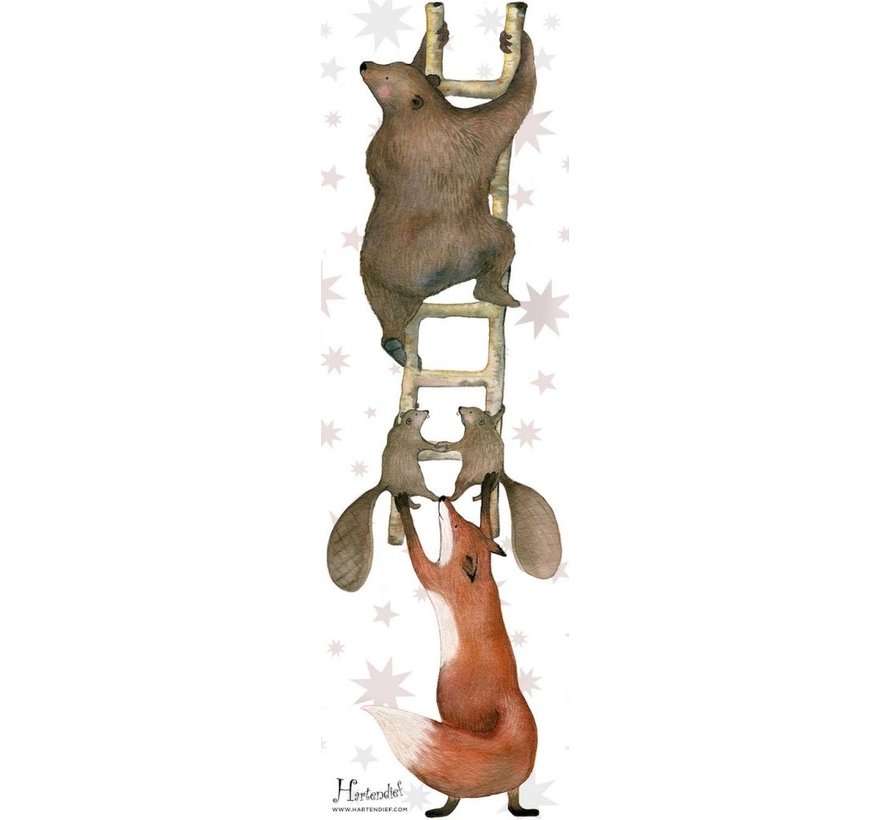Dieren op de ladder Muursticker