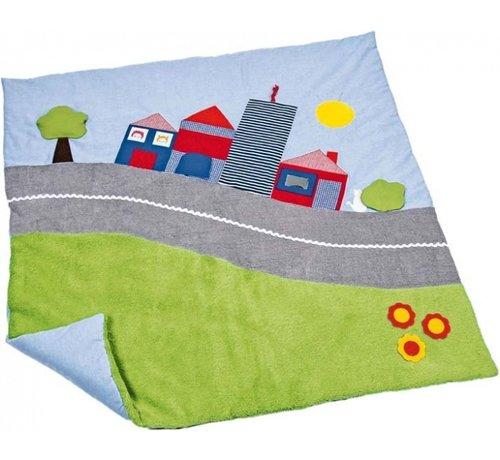 Käthe Kruse speelkleed stad 100 x 100 cm groen/lichtblauw