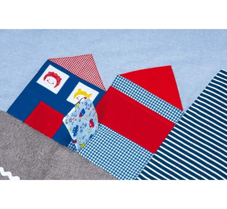 speelkleed stad 100 x 100 cm groen/lichtblauw
