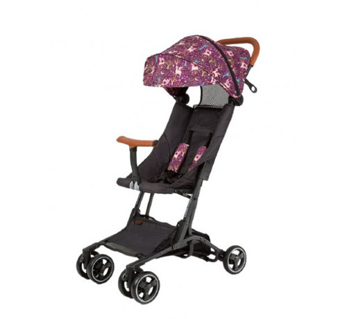 Bizzi Growin kinderwagen Fantasia 4 wielen zwart/paars
